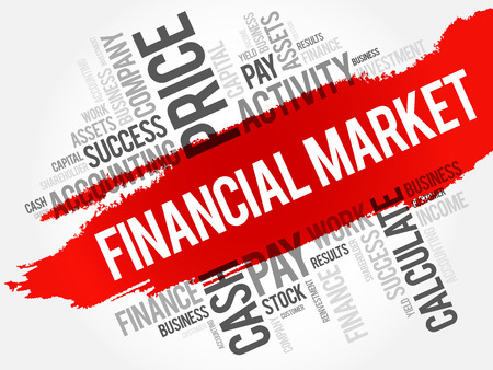 secondary: Financial market word cloud collage, business concept background Illustration