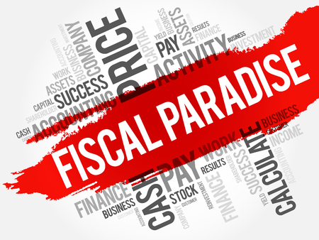 financial adviser: Fiscal Paradise word cloud collage, business concept background