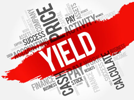 Yield word cloud collage, business concept background