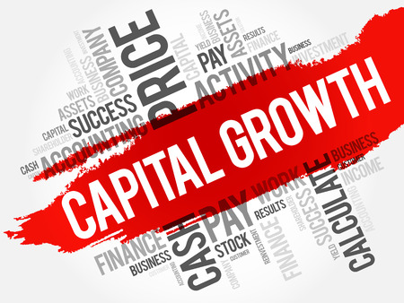 Capital growth word cloud collage, business concept background Illustration