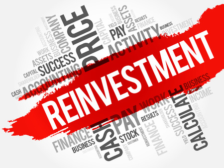 Reinvestment word cloud collage, business concept background