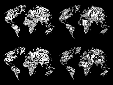 Set of Infographic World Word Cloud Maps in Typography, Health, Hello, Question and World Map with names of countries Illustration