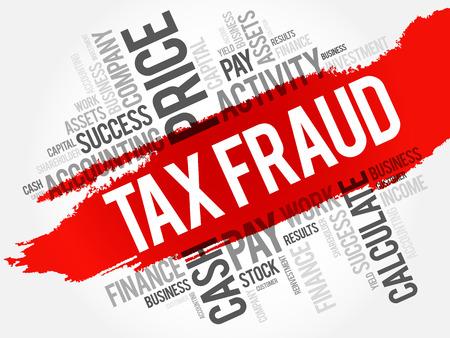 Collage de nuage de mot fraude fiscale, fond de concept d'affaires Banque d'images - 80191741
