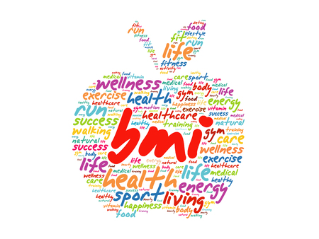 BMI - Body Mass Index, apple word cloud collage, health concept background 向量圖像