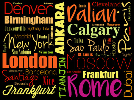 Cities in the world word cloud collage, travel destinations concept background