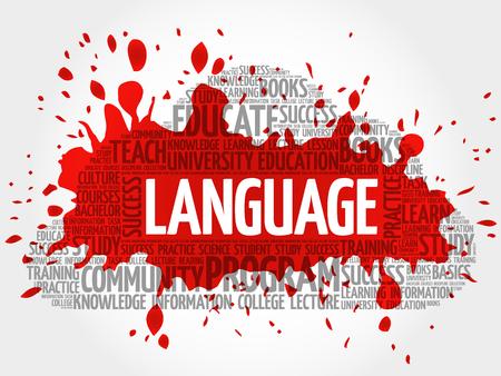 LANGUAGE word cloud collage, education concept background Illustration