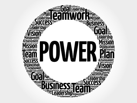POWER circle stamp word cloud, business concept