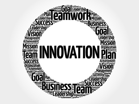 INNOVATION circle word cloud, business concept background Çizim