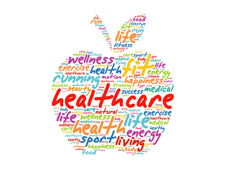 Health care apple word cloud collage, health concept background