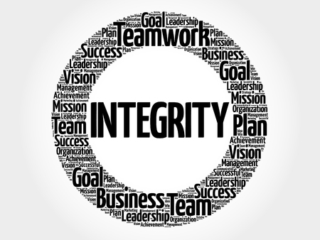 business ethics: Integrity circle word cloud, business concept background