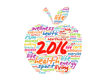 2016 apple word cloud collage, health goals concept background