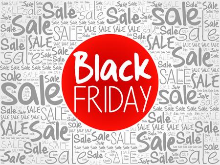 bargains: Black Friday Sale words cloud, business concept background Illustration