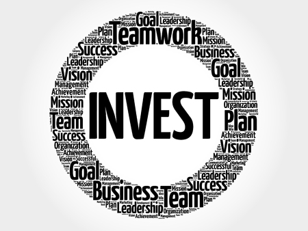 ownership equity: Invest circle word cloud, business concept Illustration