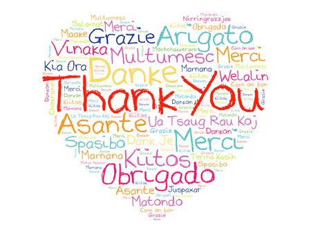 Danke Liebes-Herz-Wort-Wolke in verschiedenen Sprachen, Konzept Hintergrund
