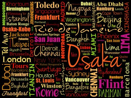 세계에서 도시 관련 단어 구름 콜라주 배경 일러스트