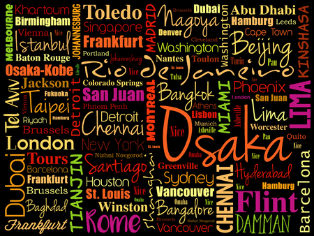 Cities in the World related word cloud collage background Illustration