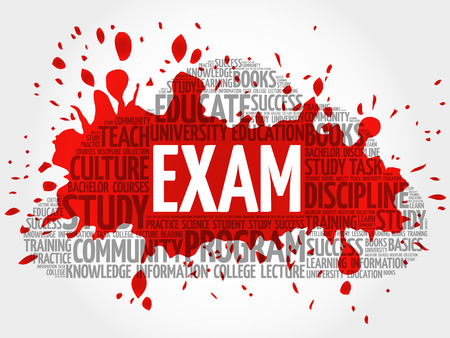 EXAM. Word cloud, education collage Illustration