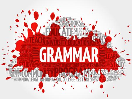 verb: Grammar word cloud collage, education concept background Illustration