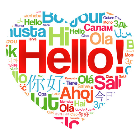 dialect: Hello Love Heart word cloud in different languages of the world, background concept