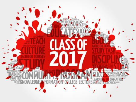 2017 単語クラスの雲のコラージュ、概念の教育の背景