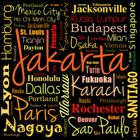 Cities in the world, word cloud collage, travel destinations concept background Illustration