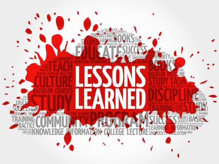 Lessons Learned word cloud, education concept Ilustração
