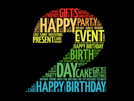 Happy 2nd birthday word cloud collage concept 向量圖像