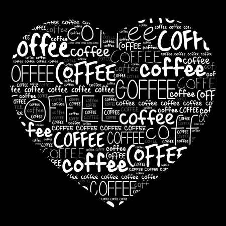 tagcloud: Love Coffee heart words cloud collage background