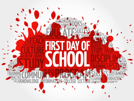 beginnings: First day of school word cloud collage, education concept background