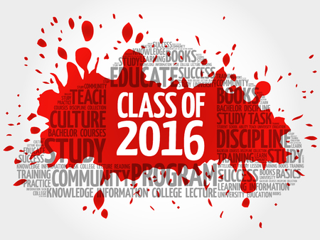letterpress words: CLASS OF 2016 word cloud collage, education concept background