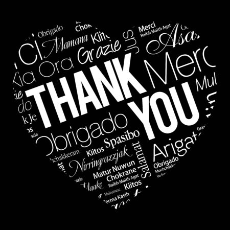 Thank You Love Heart Word Cloud in different languages, concept background Illustration