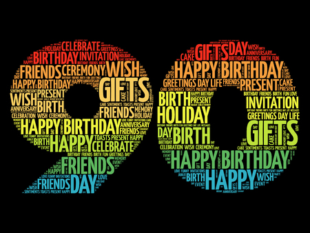 90th: Happy 90th birthday word cloud collage concept Illustration