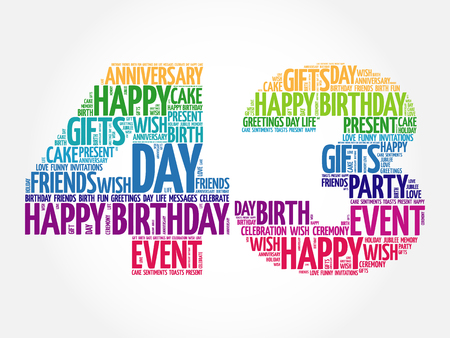 rd: Happy 43rd birthday word cloud collage concept Illustration