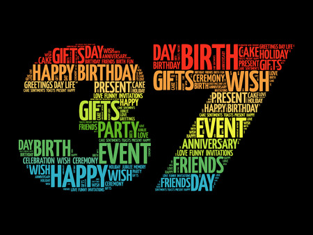 tagcloud: Happy 37th birthday word cloud collage concept