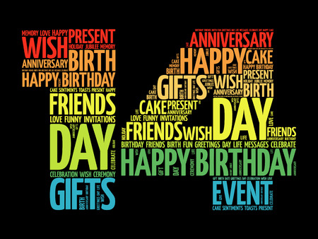 fourteen: Happy 14th birthday word cloud collage concept