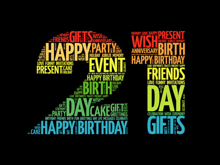 Happy 21st birthday word cloud collage concept