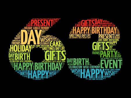 Happy 63rd birthday word cloud collage concept