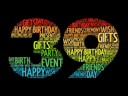 Happy 39th birthday word cloud collage concept