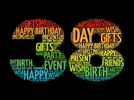 Happy 38th birthday word cloud collage concept Illustration