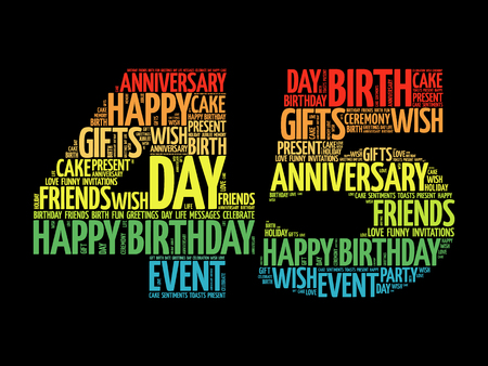 Happy 45th birthday word cloud collage concept