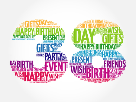 tagcloud: Happy 38th birthday word cloud collage concept Illustration