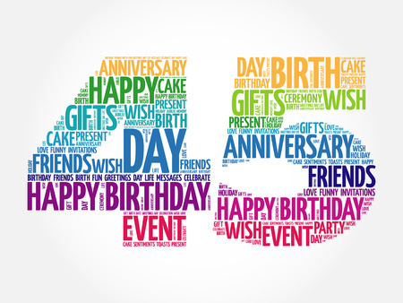 45th: Happy 45th birthday word cloud collage concept