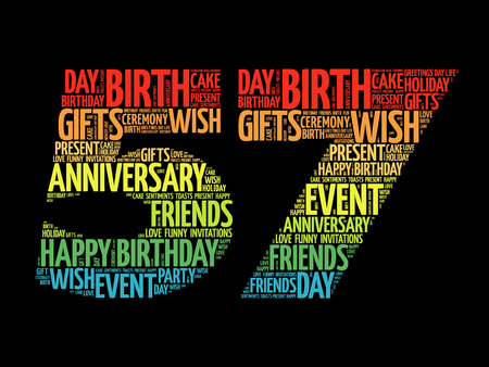 57: Happy 57th birthday word cloud collage concept Illustration