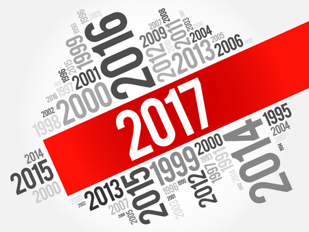tagcloud: 2017 Happy New Year and previous years word cloud collage