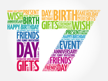 17th: Happy 17th birthday word cloud collage concept