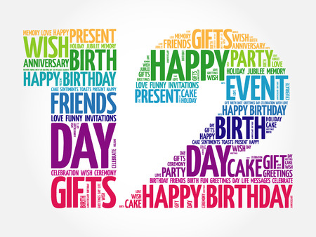 tagcloud: Happy 12th birthday word cloud collage concept