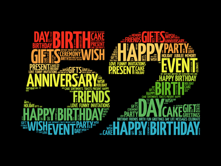 tagcloud: Happy 52nd birthday word cloud collage concept