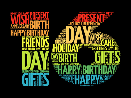 Happy 16th birthday word cloud collage concept Ilustração