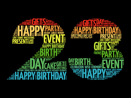 Happy 23rd birthday word cloud collage concept Ilustrace
