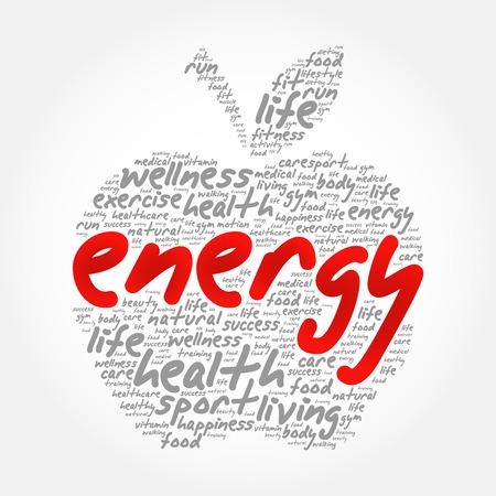 エネルギー アップル単語雲コラージュ、健康概念を背景